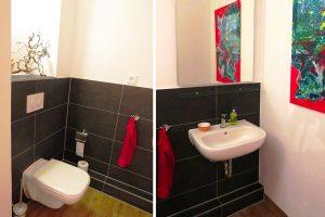 Modernes Gäste-WC mit Waschbecken und WC