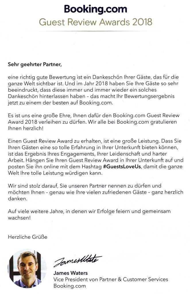 Booking Guest Review Awards 2018 - Hamax
